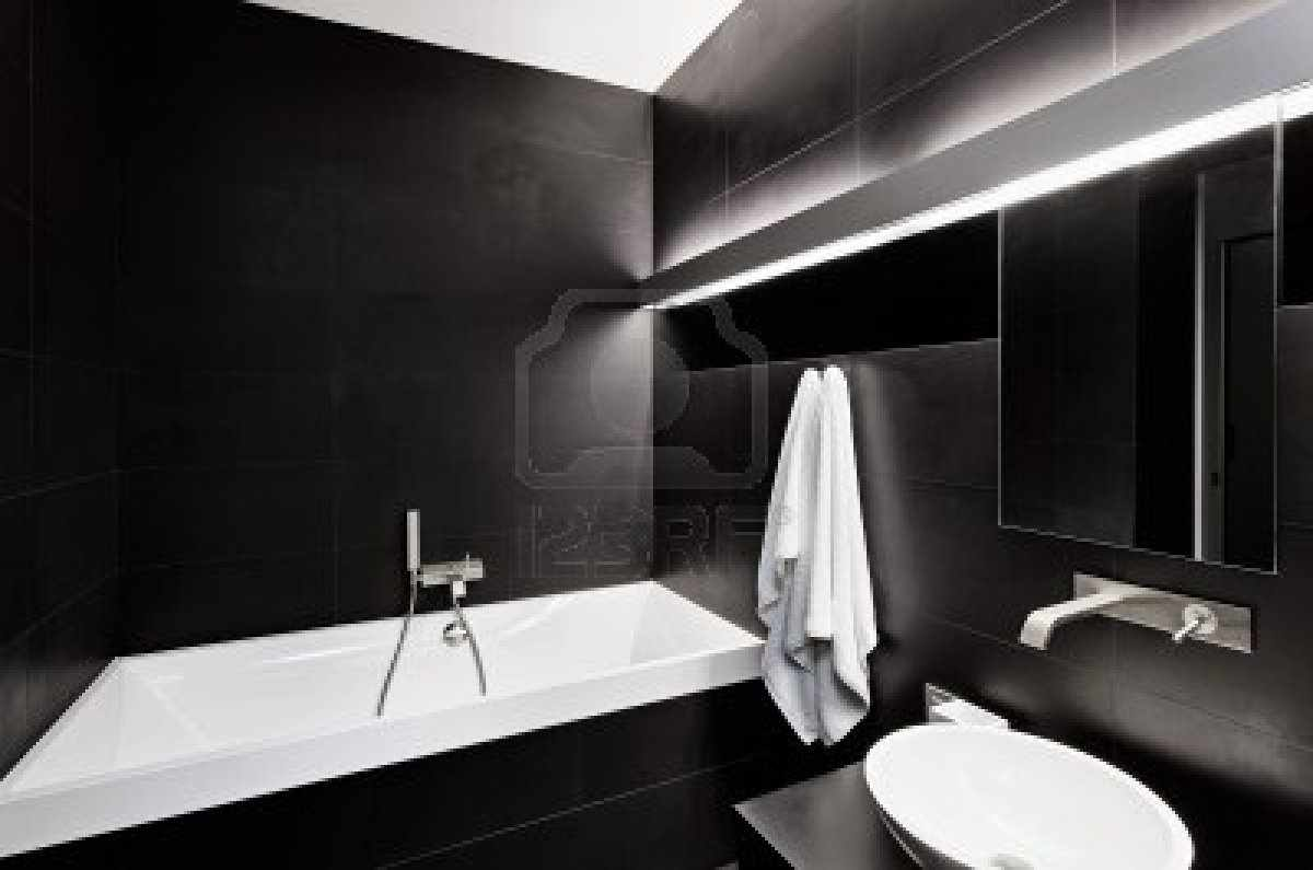 Modern minimalism style bathroom interior in black and white tones pouted online magazine Interior design black bathroom